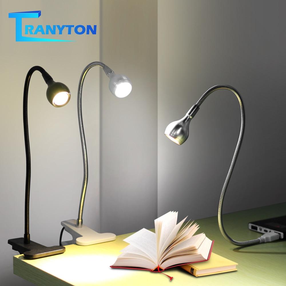 USB Power Clip Holder LED Book Light Desk Lamp 1W Flexible LED Reading Book Lamp Switch On/Off Table Lamp For Bedroom Study Room