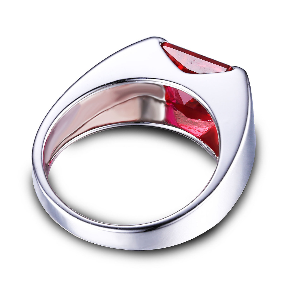 JewelryPalace Solid 925 Sterling Silver Mens Jewelry Created Ruby Engagement Wedding Ring For Men Square Genuine Gem In Rings From