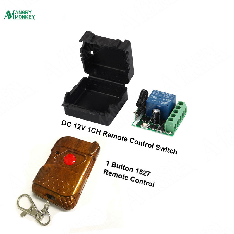 433Mhz Universal Wireless RF Remote Control Switch DC 12V 10A 1CH relay Receiver Module and 433.92 Mhz 1 key Remote Controls
