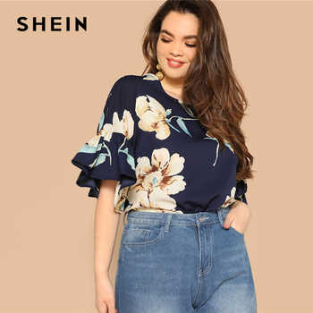 SHEIN Plus Size Navy Flounce Sleeve Flower Print Blouse Women 2019 Spring Round Neck Half Sleeve Highstreet Tops Blouse - DISCOUNT ITEM  45% OFF All Category