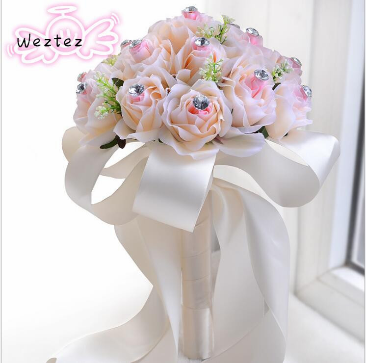 Bridal Bouquet White Satin Romantic Bridesmaid Wedding Foam Flower Rose Wedding Bouquet D357
