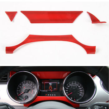 4pcs Silver Red Blue ABS Dashboard Instrument Box Cover Trim Frame For Ford Mustang 2015 2016