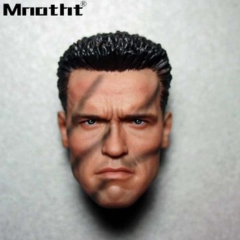 1/6 Arno Terminator 2 Head Sculpt Longyan Longyan Tactical Camouflage Version Male Soldier Head Model Toys fit for PH Body m5