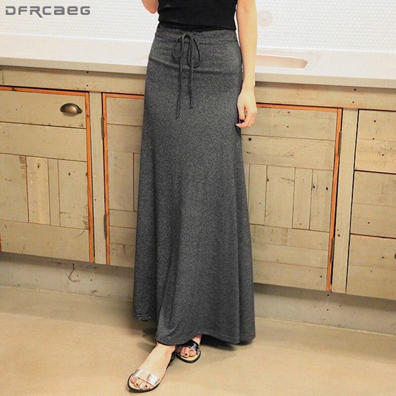 New Long Skirts For Women 2019 Spring Autumn High Waist Maxi Skirt Split Elegant Lace Up Jupe Femme Cotton Streetwear Saia Longa