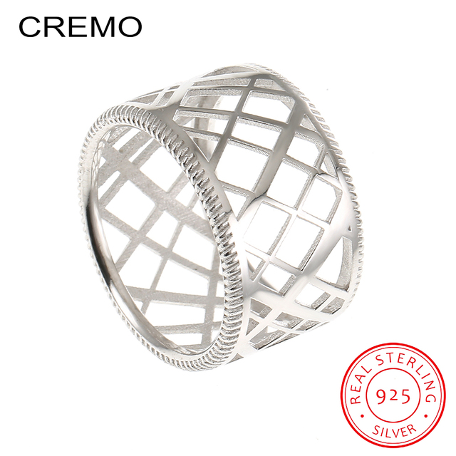 729683c30bf3 CREMO 925 Sterling Silver Rings For Women Unique Weave Shape Round Ring  Wedding Band Fashion Jewelry