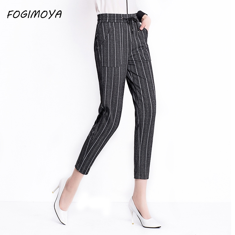 FOGIMOYA Striped Ankle Length Harem Pants Women Spring High Waist Solid Lace Up Legging Women's 2018 Casaul Simple Wild Pants
