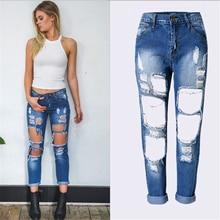 Купить с кэшбэком Boyfriend Hole Ripped Jeans for Women Mid Waist Cool Denim Pants Female Jeans Mujer Femme Trousers