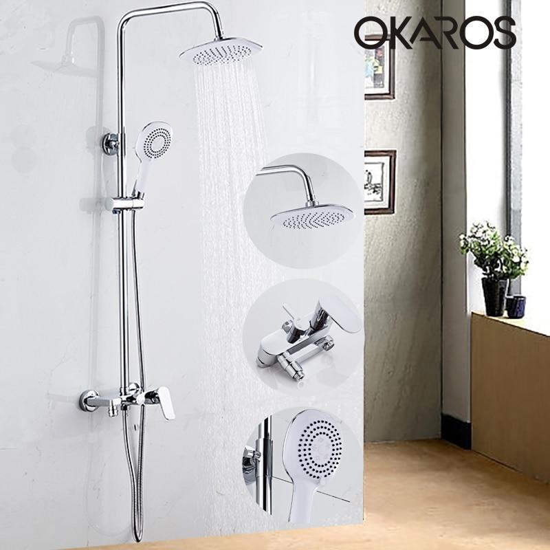 OKAROS Bathtub Shower Faucet  Rainfall Shower Head Hand Shower Sprayer Bathroom Shower Set Hot Cold Water Tap Mixer Torneira