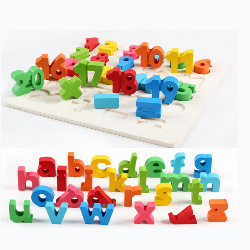 Kids Baby Wooden Learning Digital&Letter Educational Toys Puzzle Montessori Early Learning Children Birthday Gift Present TY0029 new children kids puzzle learning developmental versatile flap abacus wooden toys wood educational learning cock tool fci