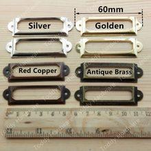 10 pcs 60*17mm Vermelho Cobre Antigo Do Vintage Etiqueta De Metal Pull Handle Quadro Titular Do Cartão de Nome de Arquivo de Gabinete caso Caixa de gaveta puxadores puxa