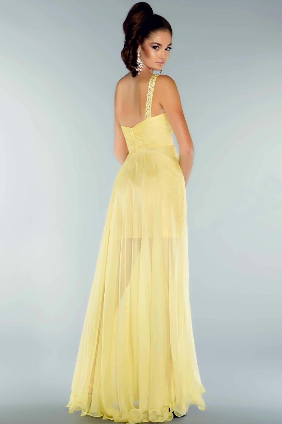 High Low Chiffon Beaded One Shoulder Yellow Short Homecoming Dress ...