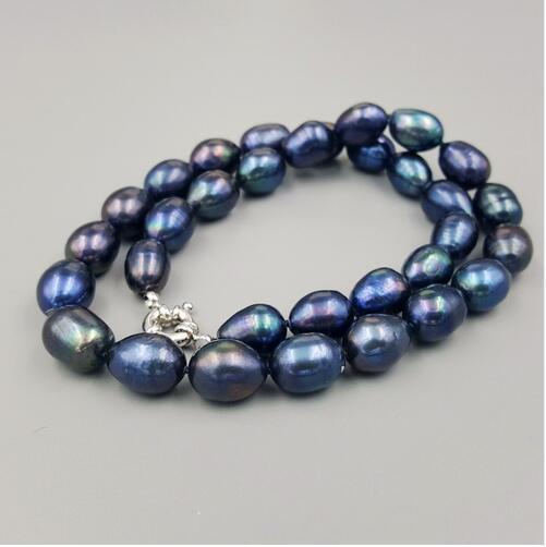Collier en perle Deau Douce de Couleur noire et bleue, 18 pouces, 9-10mm, Nouvelle collection