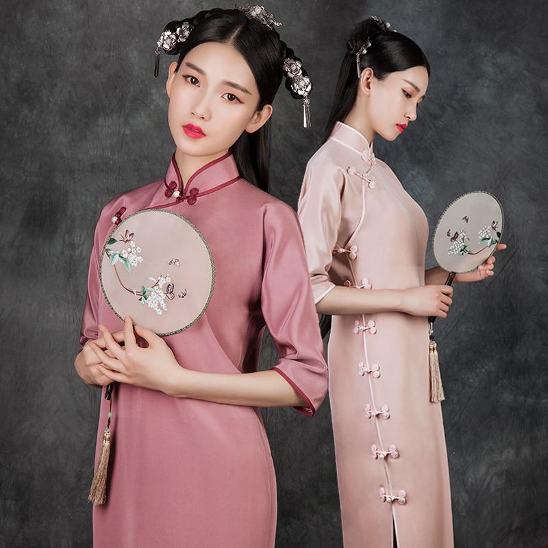 See Orange Glitziest Vintage Pink Silk Long Cheongsam Autumn Beijing Girl Chinese Dress Qipao SO1720