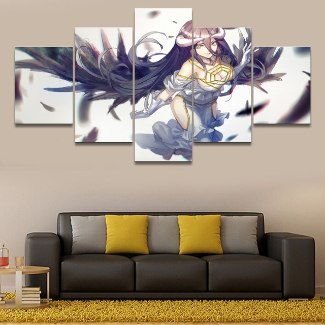 Modular Pictures For Girls Berdoom Wall Art 5 Pieces Anime Overlord Albedo Painting Home Decor Canvas HD Print Poster Framework 1