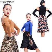 new lady Latin dance long sleeve high collar shirt Dance Costume exercise top freeshipping