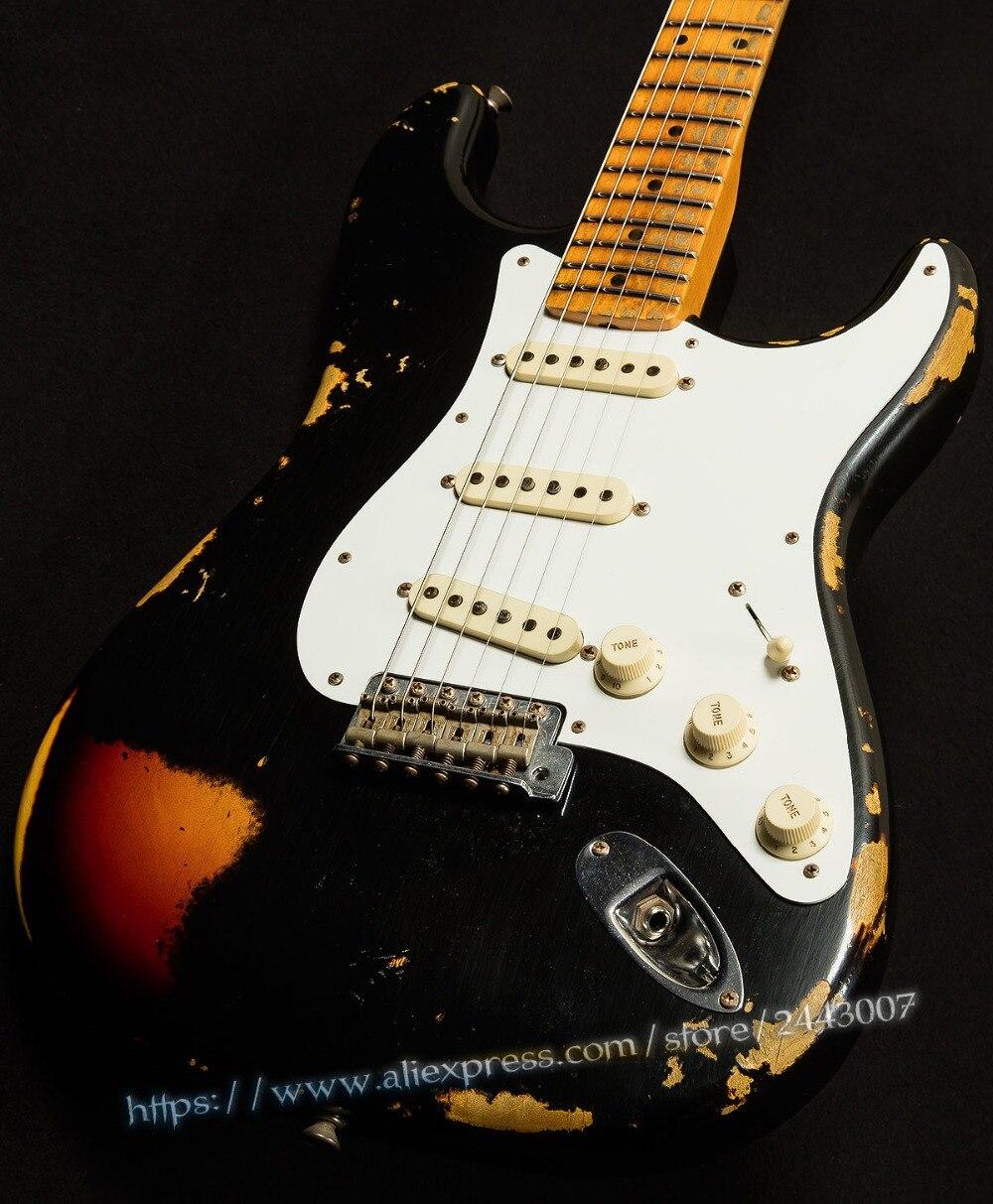 GC Custom Shop Masterbuilt Collection NAMM Limitée Méfait Maker Électrique Guitare Noir sur 3-Tone Sunburst