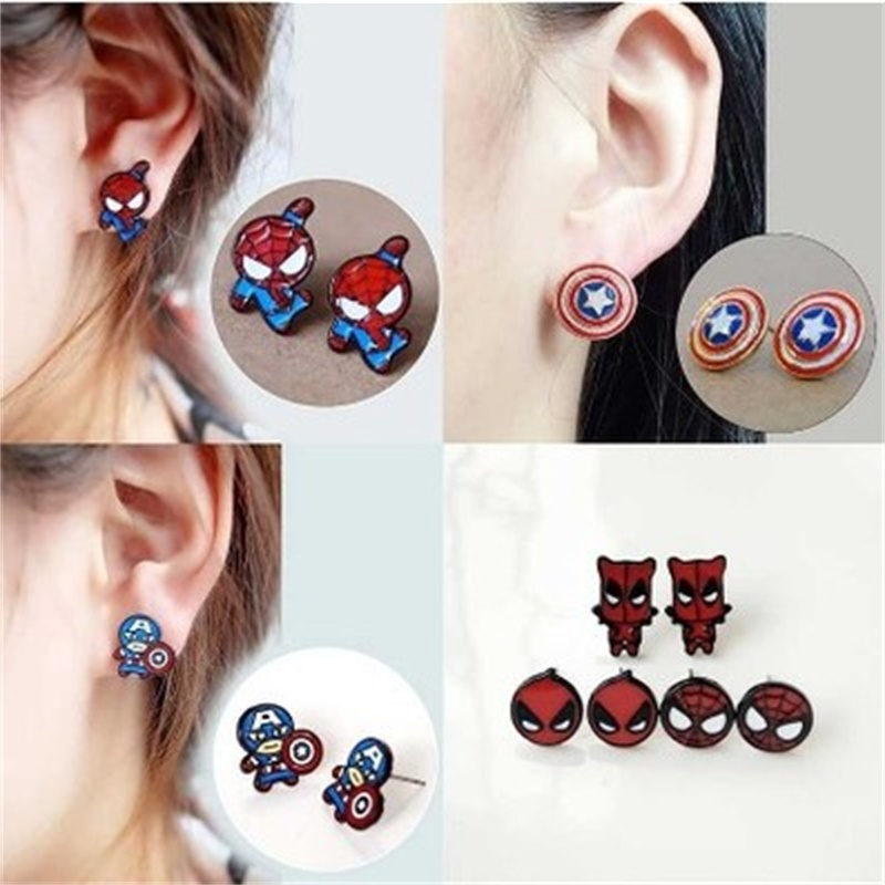 Avengers Captain America Stud Earrings Cosplay Props Deadpool Spider Man Metal Enamel Earrings Women Girl Christmas Gifts