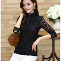 Black Shirt Victorian Womens Sheer Top Ladies Office Chiffon Lace high neck Blouse