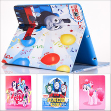 Fashion Movie My Little Pony and Thomas Pu leather stand holder Cover Case For ipad 234