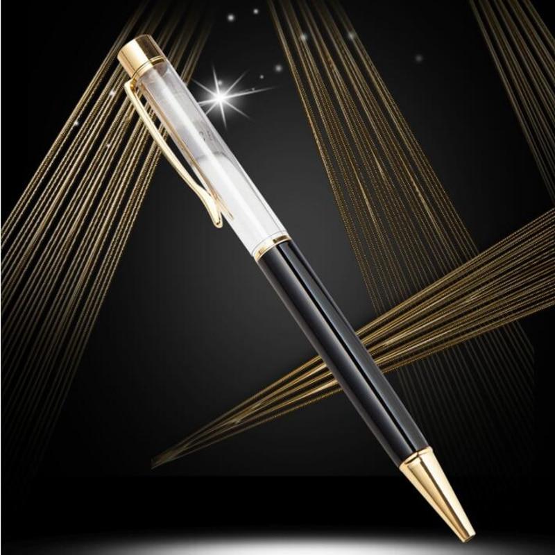 10pcs/set Creatively 1.0mm Empty Tube Floaty Pen metal copper high-grade gold Ballpoint Pen With no Gold Foil Oil Ball Pens