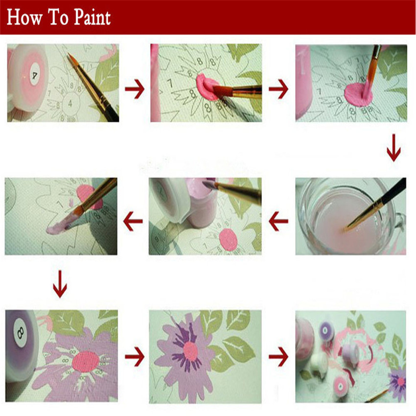 RIHE Pray Girl Diy Painting By Number Oil Painting Cuadros Decoracion Acrylic Paint On Canvas 2018 Wall Pictures For Living Room in Painting Calligraphy from Home Garden