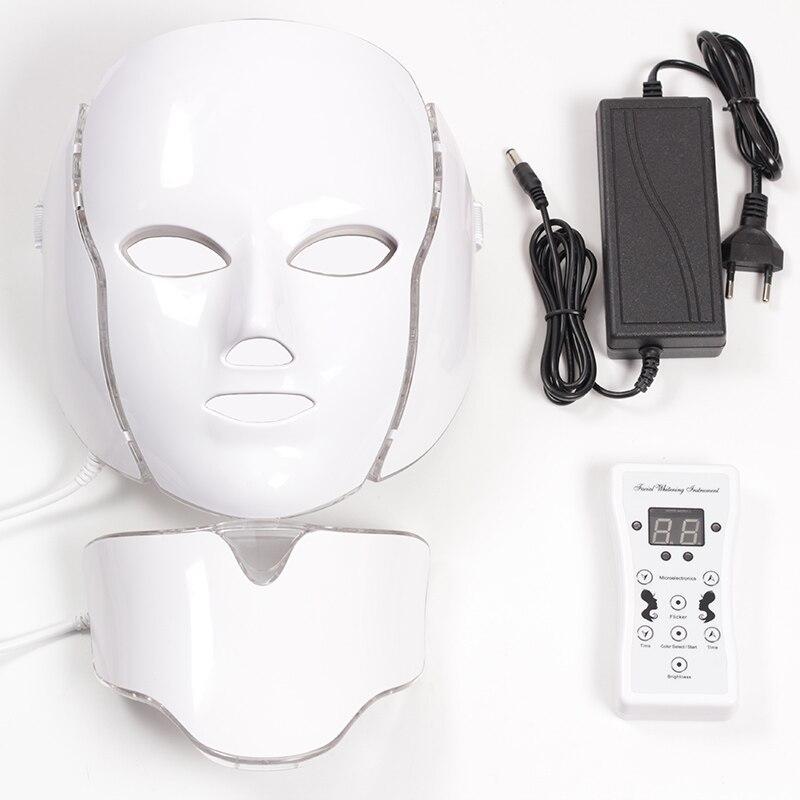 仮面 led 7 色 Led フェイシャルマスク Led 韓国光子療法フェイスマスク光治療にきびマスクネック Led マスク美容  グループ上の 美容 & 健康 からの 顔スキンケアツール の中 1