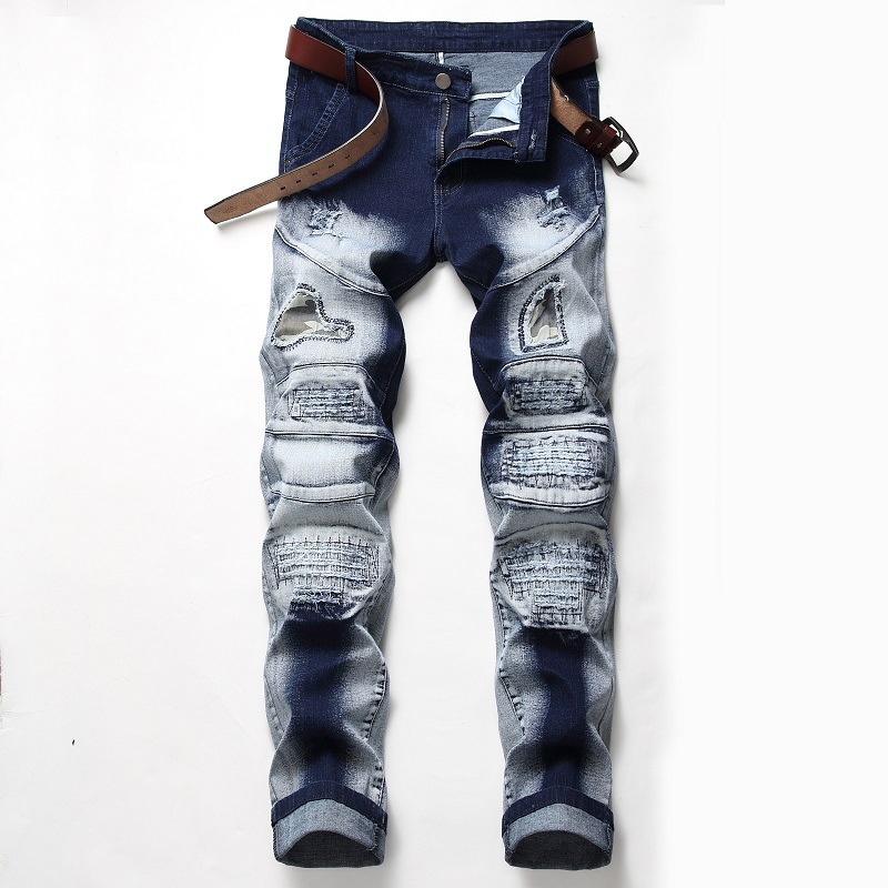 Newsosoo Ripped Holes Jeans Men's Patchwork Biker Denim Trousers Straight Brand Designer Streetwear Pants For Male Blue Grey