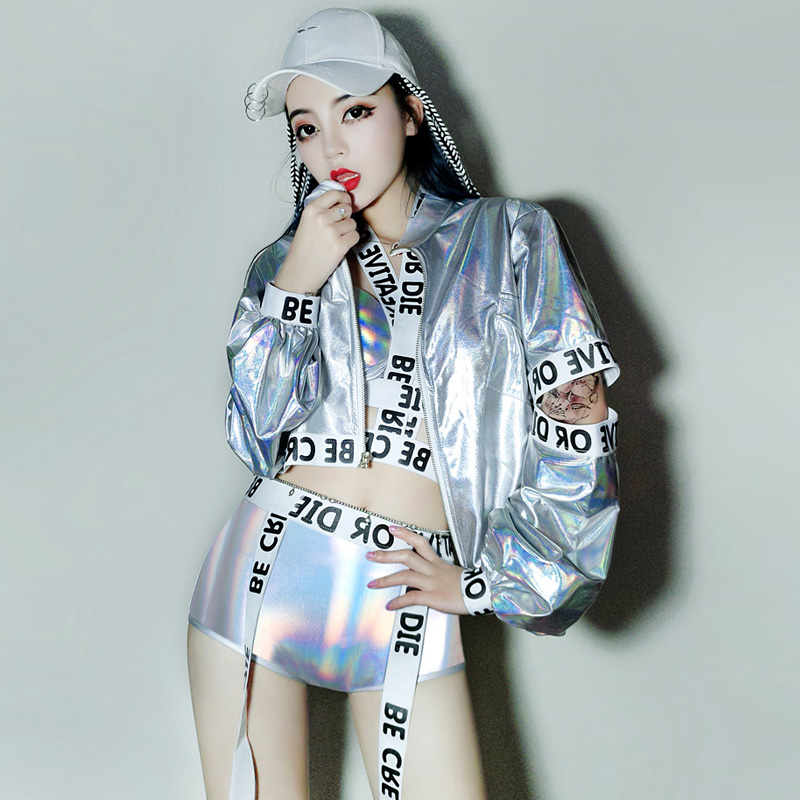 Jazz Dance Costumes Womens Holographic Hip Hop Dancing Clothes Lady Gaga Costume Suit Nightclub Party Stage Outfits 3 Pcs DL2965