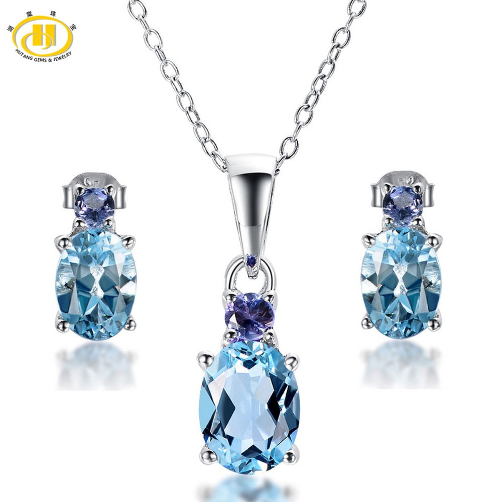 Hutang Natural Blue Topaz & Tanzanite Set Solid 925 Sterling Silver Jewelry Sets Earrings & Pendant Women's Gemstone Jewelry