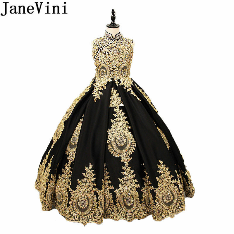 JaneVini High Neck Black Crystal Flower Girl Dresses Gold Lace Appliques Ball Gown Pageant Gowns Robe
