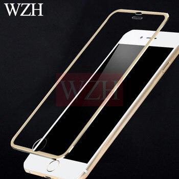 3D Aluminium Gehard Glas Voor Iphone 7 8 Plus X 9H Volledige Cover Aluminium Frame Beschermende Film Voor Iphone 5 5S 5C Se 6 6 S Ronde Rand