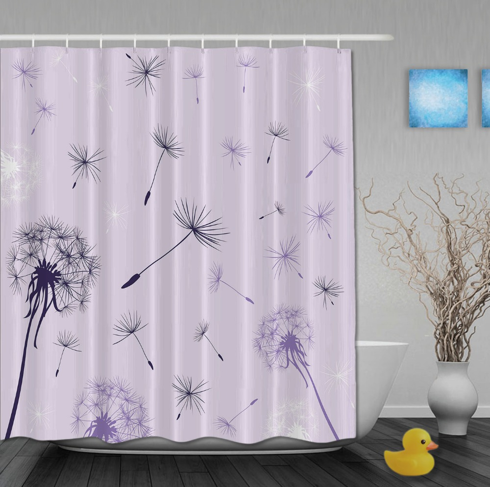 Custom Purple Dandelion And Stars Morden Style Shower Curtains Waterproof Fabric With Hooks High