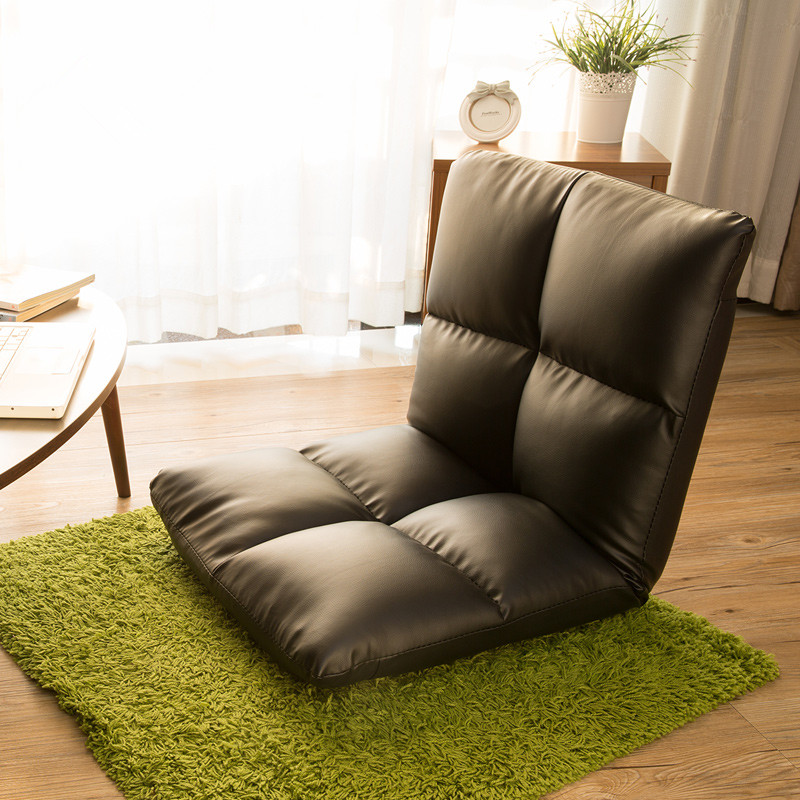 Floor Seating Chair Leather Brown Foldable Floor Seating Chair 5 Level of  Adjustable Modern Fashion Reclining Back Sofa Cushion
