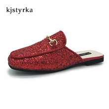 8914fe3b82da Kjstyrka 2018 Brand designer black red sliver women mules ladies slippers  bling glitter flats shoes(