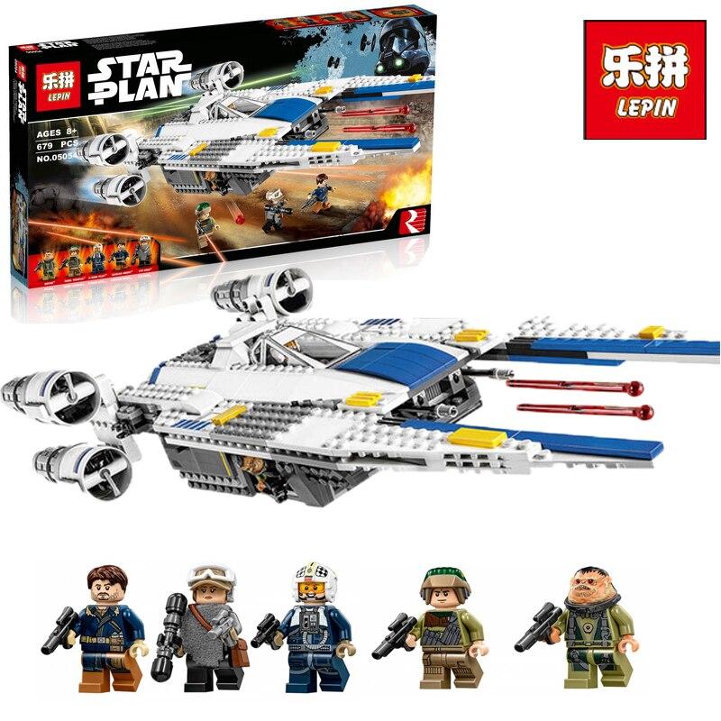 Lepin 05054 New 679pcs Star Series War Re--bel U fighter wing jets Building Blocks Bricks Model Kids legoINGlys 75155 Gifts