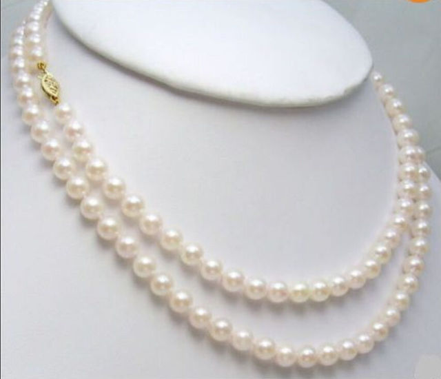 "7-8 MM AA Blanco japonés AKOYA collar de perlas 32"""