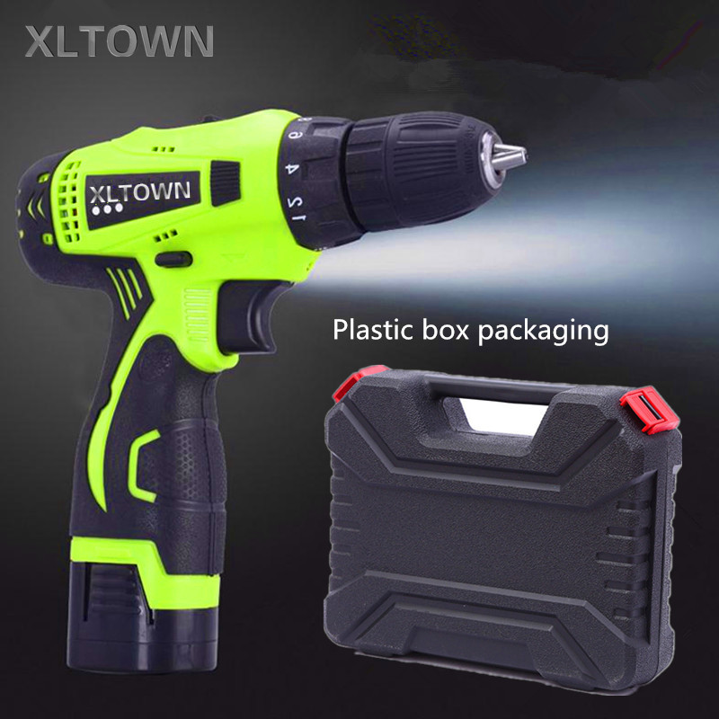 Xltown 16.8v two-speed rechargeable lithium battery electric screwdriver with a plastic box  electric screwdriver power tool replacement rechargeable 3 7v 2000mah lithium battery pack with screwdriver for nintendo 3ds