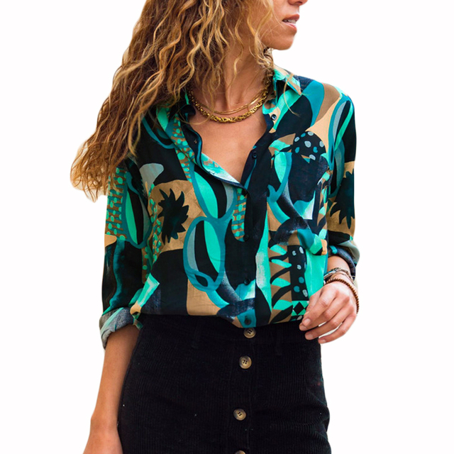 8db641119c581 Women Chiffon Blouses Long Sleeve Turn Down Collar Office Shirt Geometric  Print Blouse Loose Casual Tops Plus Size Chemise Femme