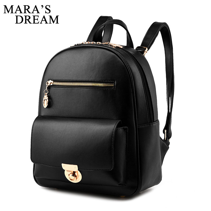 Mara's Dream Fashion Women Backpack Youth PU Leather Backpacks For Teenage Girls Female School Bag Bagpack Mochila Sac A Dos 3pcs set hot women backpacks female school bags for teenage girls black pu leather backpack shoulder bag purse mochila sac a dos