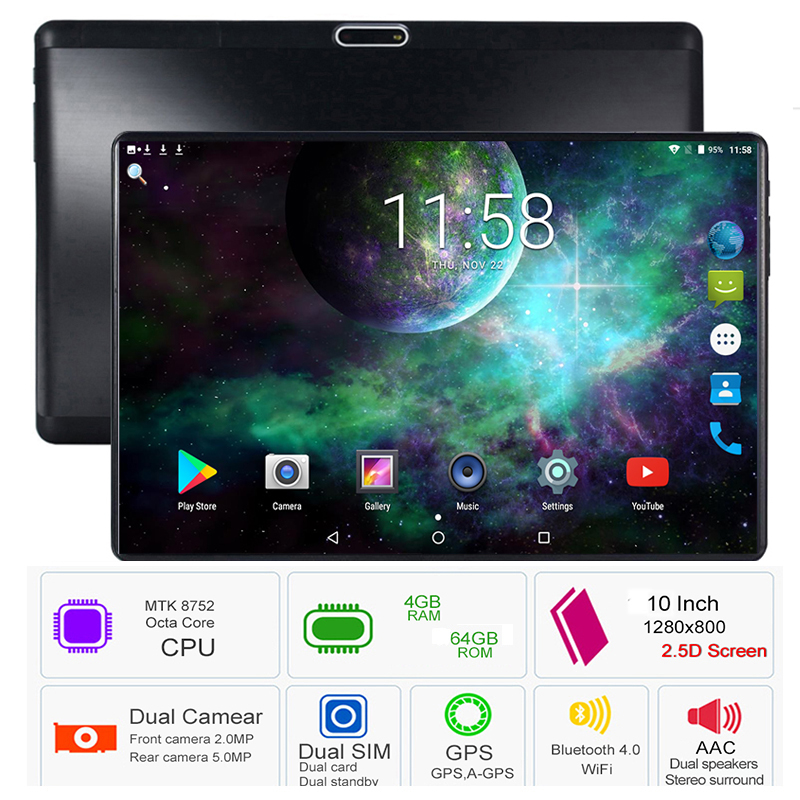 4G Mobile Phone Tablets 10 Inch HD MTK8752 Octa Core Android 9.0 6GB+64GB WIFI 8MP Dual Camera Cellphone Tablets With Free Gifts