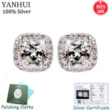 Sent Certificate! Fine Jewelry Original 925 Silver Stud Earrings Square 8mm 2 Carat Cubic Zircon Wedding Earring for Women CE011(China)