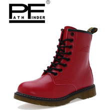 Pathfind 2018 hot  women pu Leather waterproof fur spring winter Tooling military boots ladies 2019 Outdoor snow shoes цена 2017