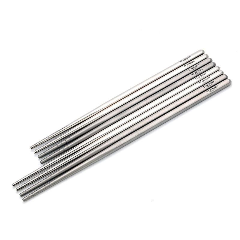 Tiartisan Pure Titanium Square Chopsticks Ultralight Eco friendly Hollow Polished Chopsticks 195 230mm length Ta8205Ti Ta8206Ti