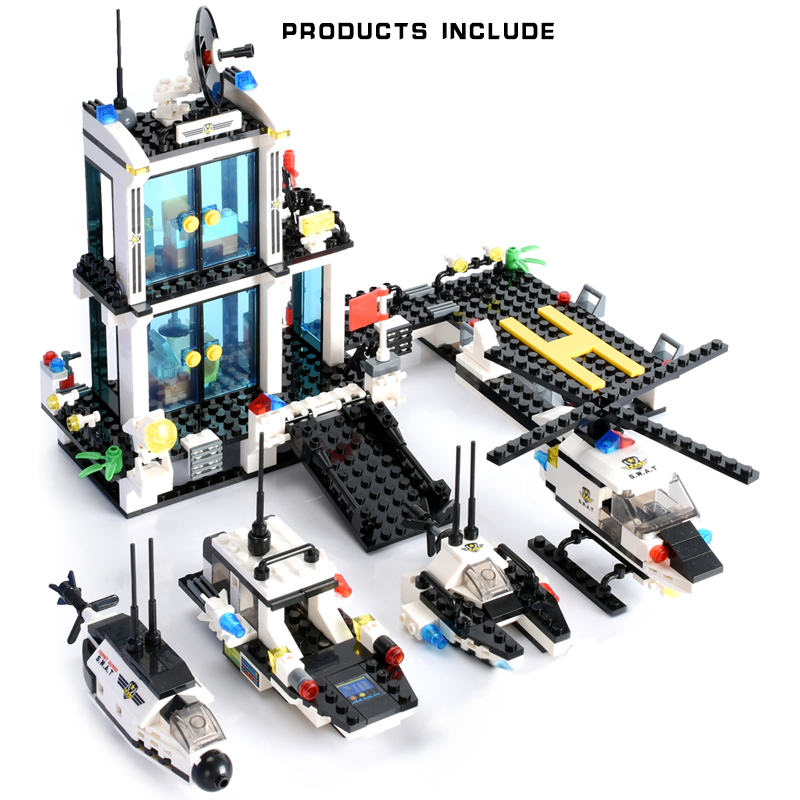 646PCS Police Patrol Vehicle Building Blocks Coast Guard Helicopter Submarine Model Bricks Blocks Toys Gift in Blocks from Toys Hobbies