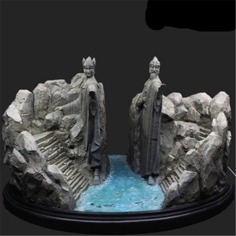 The Lord Of The Rings Resin Statue Bookends The Hobbit Gates of Gondor The Argonath Action Figure Model Giocattolo G1472 new women elegant white dress up clothes lord of the rings the hobbit lady galadriel cosplay costume fariy dress customized
