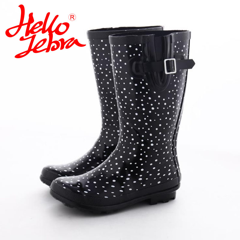 Hellozebra Women Rain Boots Lady High shoes platform boots Low Heels Waterproof Buckle Polka Dot 2017 New Fashion Design рюкзак dakine explorer 26l crosshatch