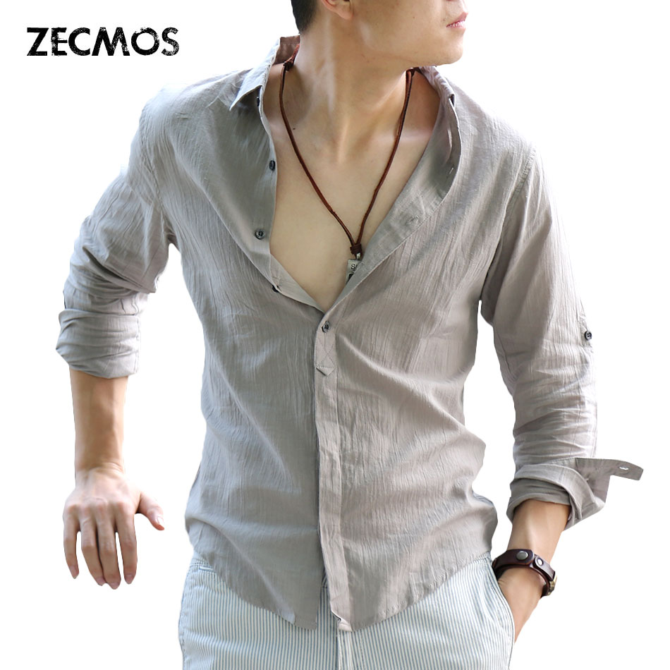 Zecmos Fashion Man Spring Solid White Shirt Social Gentleman Shirts For Men Cotton Linen Ultra Thin Casual-shirt British Style como vestir con sueter mujer