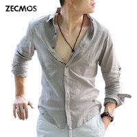 Zecmos Fashion Man Spring Solid White Shirt Social Gentleman Shirts For Men Cotton Linen Ultra Thin