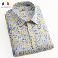 Langmeng 2016 New Men Floral Shirts XS-3XL Fashion Casual Slim Fit Camisas Business Dress Floral Print Homme Male Shirts