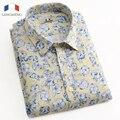 XS-3XL Langmeng 2016 Novos Homens Camisas Florais Moda Casual Slim Fit Camisas de Negócios Vestido Estampado Floral Homme Camisas Masculinas